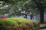 東長崎の八郎川でウナギ釣り